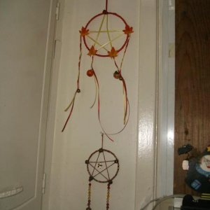 Closeup of the pentacles on the wall.