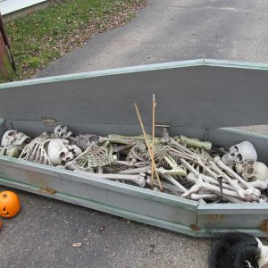 I can fit 8 skeletons, 2 hockey sticks and a random head in the coffin!