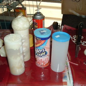 candles 2 resized Stage one --- I used koolaid and wylers containers and filled with great stuff foam