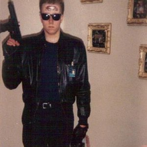 Terminator... Old pic.  One of my first attempts at makeup.  Liquid latex and tin foil.  :D