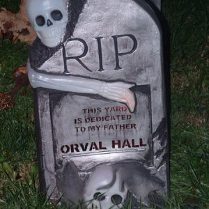 Dedication tombstone... It reads: This Yard Is Dedicated to My Father Orval Hall.  I only wish he could see what it's become.