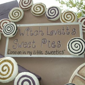 Close-up of sign on house/pie shop
