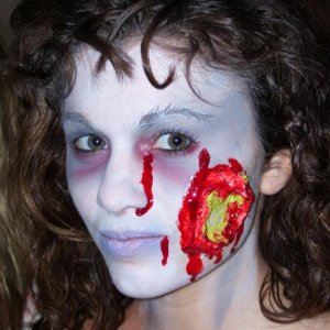 zombie walk, Ripped cheek with puss...