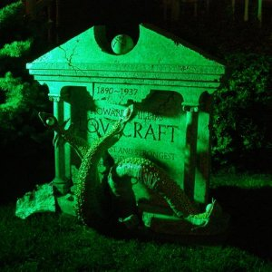 Night shot of the finished tombstone.