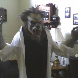 (Sorry for the bad phone pic quality.)  My werewolf is built and dressed.  I still have some blood stains and tears to do to the shirt.