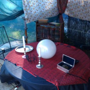 The crystal ball on a flicker circuit and haunted bookcase
