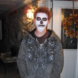 Hunter with my 15 minute death mask, not bad for Q-tip makeup work!